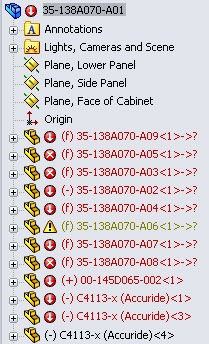 solidworks feature manager with errors