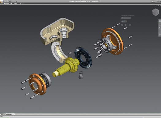 Inventor Publisher allows you to create interactive 3D assembly animations of 3D data. (desktop version shown)