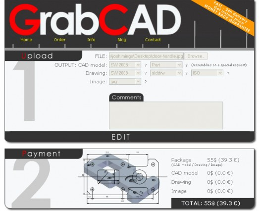 GrabCAD is hitting the fast, simple CAD file upload and design creation need. $55 bucks a pop for parts.
