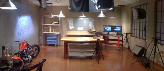 The set of Let's Go Design ... it has... a TABLE... and various products design in SolidWorks