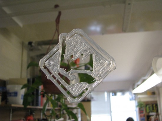 The Fab@home logo printed in silicone, sticks to glass and acrylic.