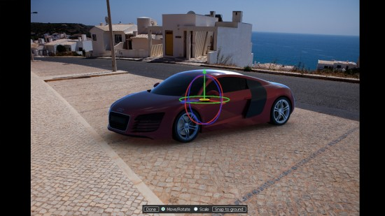 The Move object triad in KeyShot allows you to rotate and translate your model in the environment.
