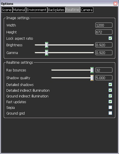 Keyshot realtime settings allow rays to reflect up to 32 times.