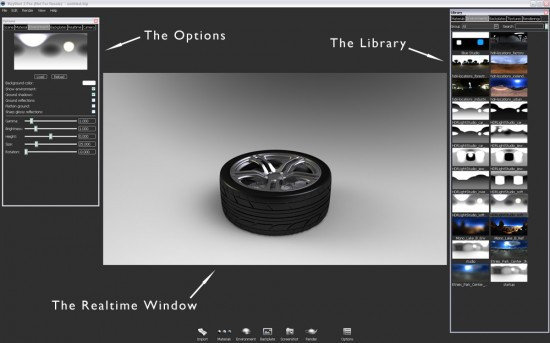The 3 main work areas in the KeyShot environment. The Realtime window, the Options and the Library.