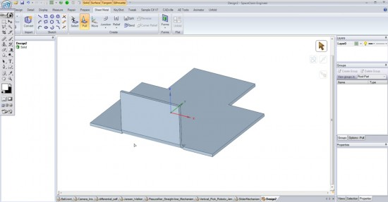 """A sheet metal flange is """"pulled"""" into place with reliefs automatically created. (Click to Enlarge)"""
