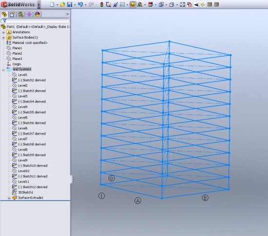 SolidWorks 2011 has a feature to create Grid layouts that weldments can be applied to. (Click to Enlarge)