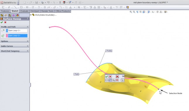SolidWorks Mid-plane Sweep