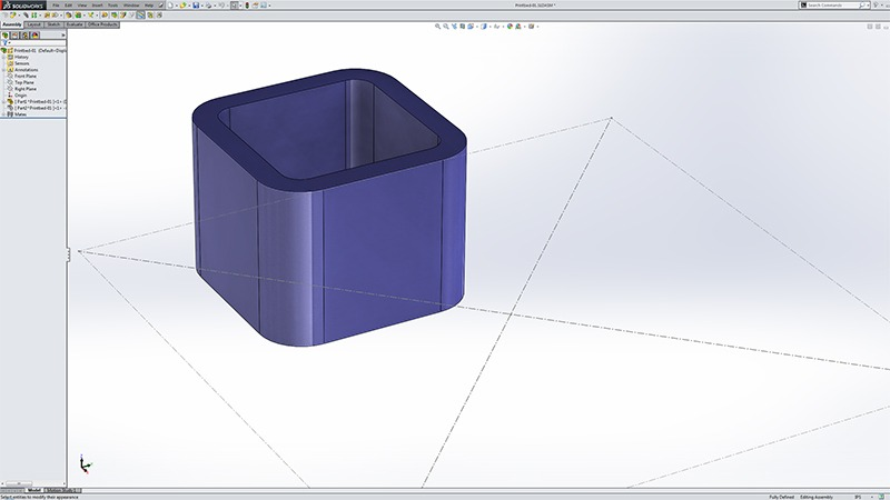 Starting a 3D print project in SolidWorks with a Layout and parts in an Assembly.