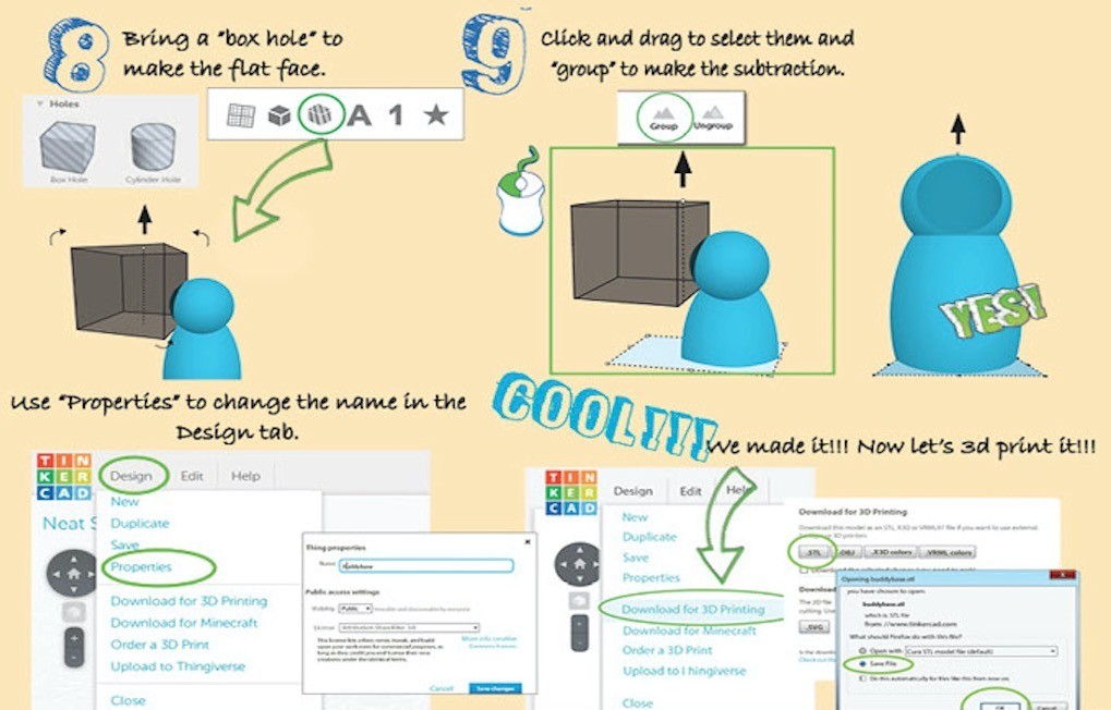 Another page from the Little Designer Book showing how to 3D model