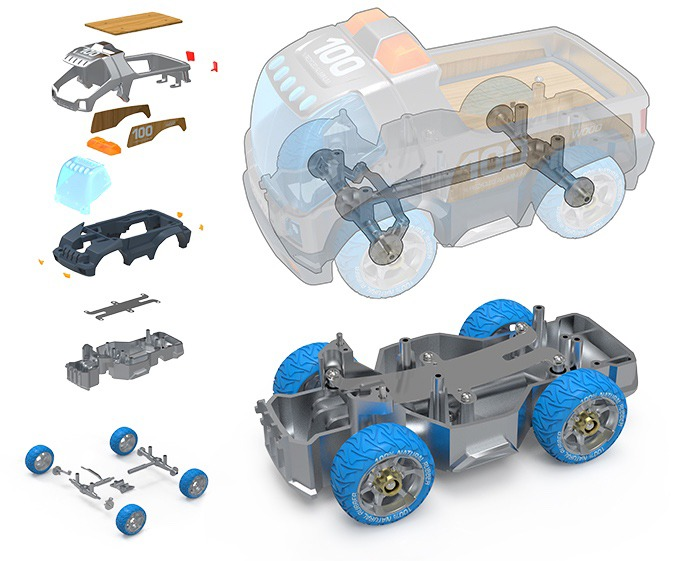 The design breakdown of the Enduro Truck, complete with leaf spring suspension system.