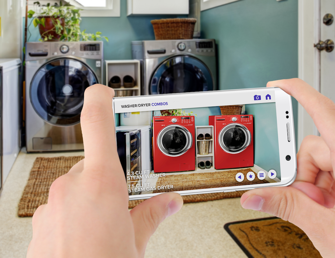 Seeing if your new appliances would look better in a different color or a different location is just one of the many applications that can be had with PointextAR. (Image credit Gravity Jack)