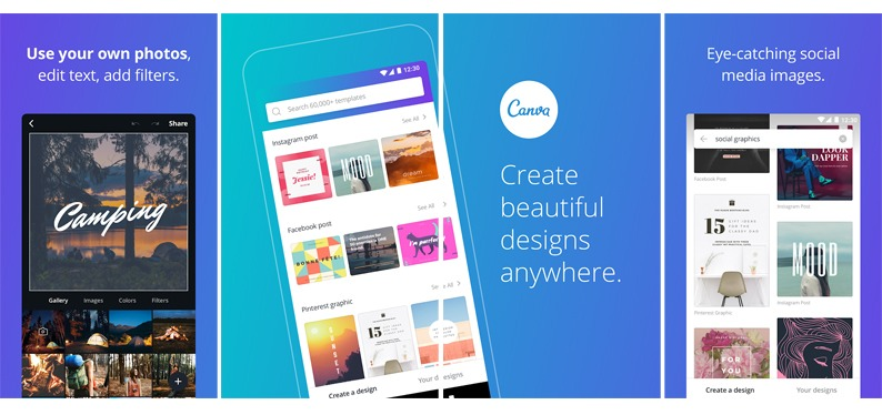 Canva is an all-in-one graphic design app that allows you to produce eye-catching graphics on the go.