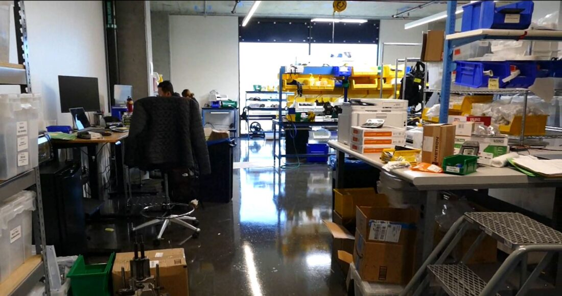 Here's the room where the assembly happens for these robots.