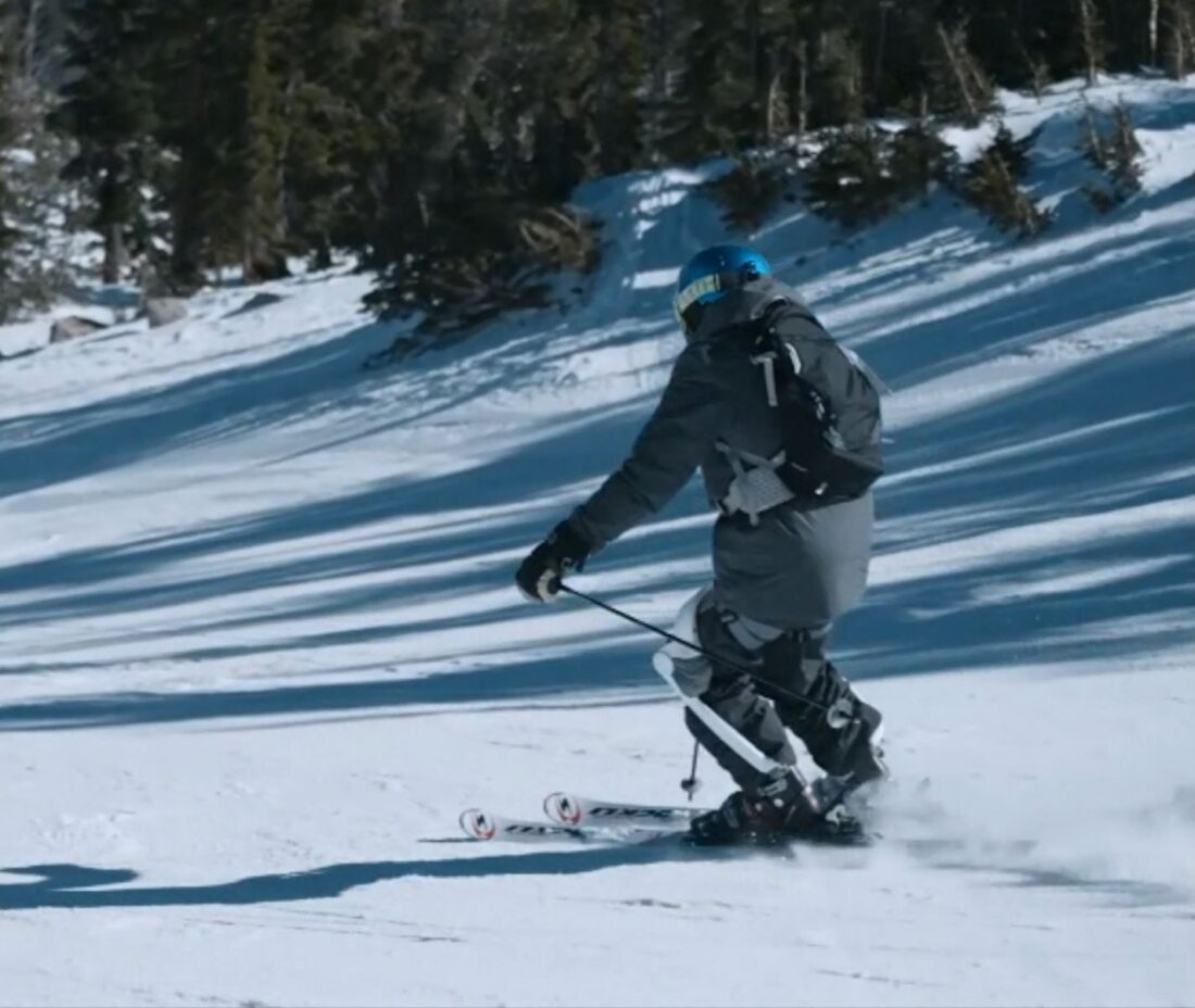 This could be you crushing powder with your fancy robotic ski exoskeleton.