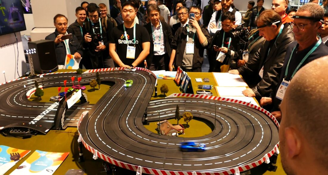 BrainCo's concentration-powered race car track at CES.